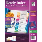 Avery® Ready Index®Table of Contents Dividers for Laser/Inkjet Printers, 15-Tab, Multi-Color