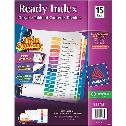 Avery 15 Tab Ready Index Multicolor Table Of Contents Dividers 1