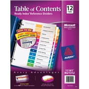 Avery® Ready Index® Table of Contents Dividers for Laser/Inkjet Printers, 12-Tab, Multi-Color