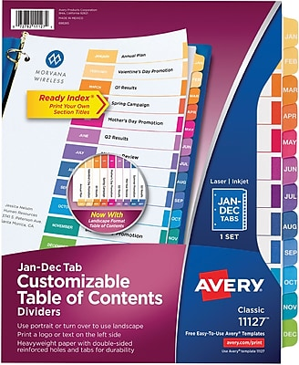 Avery Ready Index Table of Contents Monthly Tab Dividers, January-December, Multicolor (11127)