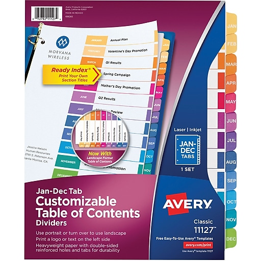 Avery ready index multicolor table of contents monthly tab for Avery ready index template 31 tab