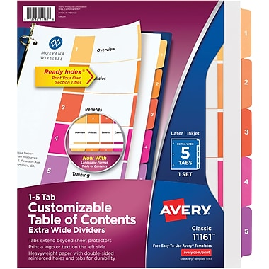 Avery® Extra-Wide Table of Contents Dividers, Multicolor, 5-Tab