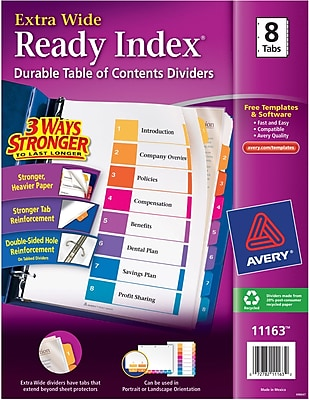 Avery®Extra-Wide Table of Contents Dividers, Multicolor, 8-Tab