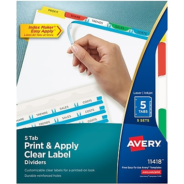 Avery index maker clear colored label dividers for laser inkjet printers