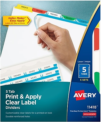 Avery® Index Maker® Label Dividers for Laser/Inkjet Printers, 5-Tab, Multicolor (11418)