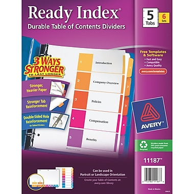 Avery® Ready Index® Table of Contents Dividers, 1-5 Tab, Multicolor, 8 1/2