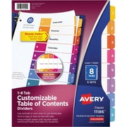 Avery 8-Tab Ready Index Durable Table of Contents Dividers, Multicolor, 6/Pack (1186)
