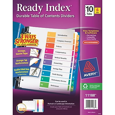Avery 10-Tab Ready Index Durable Table of Contents Dividers, Multicolor, 6/Pack (11188)