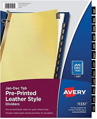 Avery® Gold Reinforced Pre-Printed Black Leather Tab Dividers, 8 1/2