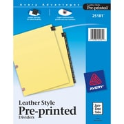 Avery® Pre-Printed Leather-Style Tab Dividers, Monthly(Jan-Dec), Black/Gold, Copper-Reinforced Holes