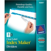 Avery Index Maker® White Dividers with Color Tabs for Laser and Inkjet Printers, 8-Tab, Blue