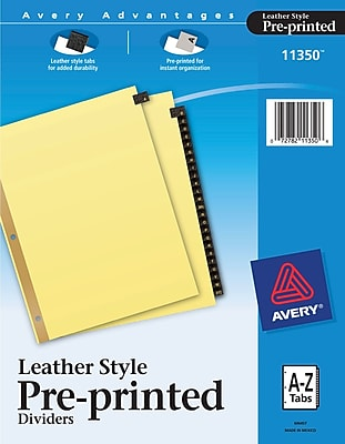 Avery® Gold Reinforced Black Leather Tab Dividers, 8 1/2