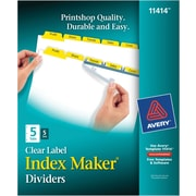 Avery Index Maker® White Dividers with Color Tabs for Laser and Inkjet Printers, 5-Tab, Yellow