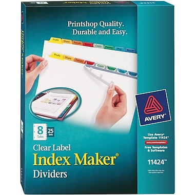 Avery® Index Maker® Easy Apply™ Clear-Label Dividers, Primary Multi-Color Tabs, 8 Tabs, 25 Sets/Box