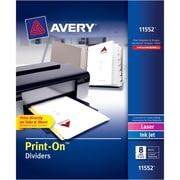 "Avery® Print-On™ Dividers, 8-Tab, White, 8 1/2"" x 11"", 5 Sets/Pk"