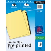 Avery Gold Line Black Leather Monthly Tab Index Dividers, 1-31 Tab Set
