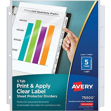 Avery Index Maker Clear Pocket Clear Label Dividers, 5-Tab Set (75500)