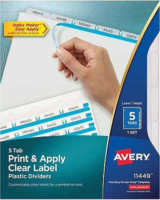 Avery® Index Maker® Translucent Clear Label Dividers, 5 Tabs, Clear