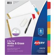 Avery Write-On™ BIG TAB Dividers, 8-Tab Set, Color Tabs