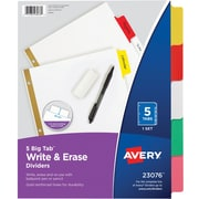 Avery® Big Tab™ Write-On Dividers With Erasable Tabs, 5-Tab Set, Assorted Color