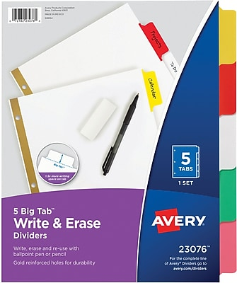 Avery® Big Tab™ Write & Erase Dividers With Erasable Tabs, 5-Tab, Multicolor (23076)