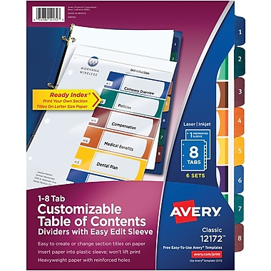 Avery® Ready Index® Easy Edit Table of Contents, 8-Tab, Multicolor, 6 Sets/Pack