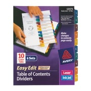 "Avery® Ready Index® Easy-Edit Table of Contents Dividers, 10-Tab, Multicolor, 8 1/2"" x 11"", 6 Sets/Pk"