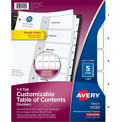 Avery 5 Tab Ready Index Classic Black White Table Of Contents