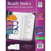 Avery® Ready Index®Table of Contents Dividers for Laser/Inkjet Printers, 15-Tab, Black & White