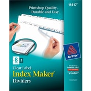 Avery® Index Maker Clear Label Tab Dividers, 8-Tab, White, 1 Set/Pack