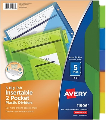 Avery® 11906 Big Tab™ Two Pocket Insertable Plastic Divider, 5 Tab