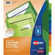 Avery® Big Tab Two-Pocket Insertable Plastic Divider, 8 Tabs/Set (11907)