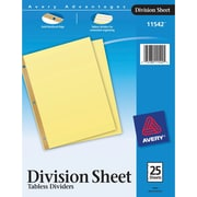 Avery Untabbed Division Sheet Dividers