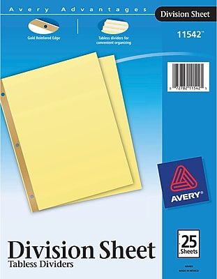 Avery® Tabless Dividers, Division Sheet Dividers