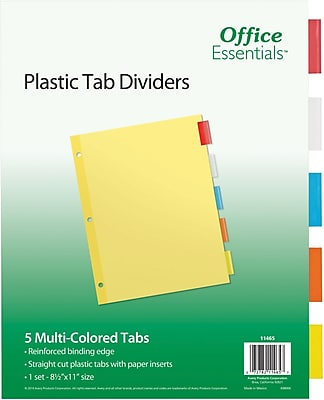 Avery® Office Essentials Insertable Dividers, Multicolor, 5-Tab (11465)