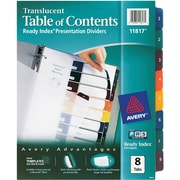 Avery® Ready Index® Translucent Table of Contents Dividers, 8-Tab