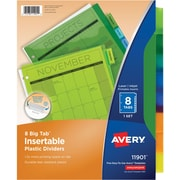 Avery Insertable Tab Dividers, Multicolor, 8-Tab/Set (11901)