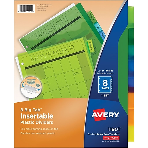 Avery multicolored plastic insertable tab dividers 8 tab staples httpsstaples 3ps7is maxwellsz