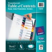 Avery® Ready Index® Table of Contents Dividers for Laser/Inkjet Printers, 10-Tab, Multi-Color