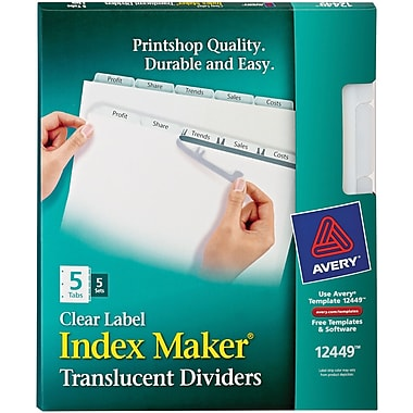Avery® 12449 Index™ Maker 5-Tab Clear