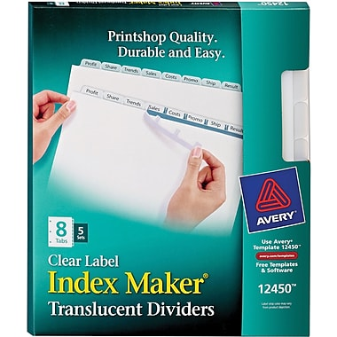 Avery® 12450 Index™ Maker 8-Tab Clear