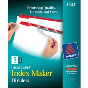 Avery Index Maker® White Dividers with Color Tabs for Laser and Inkjet Printers, 5-Tab, Red