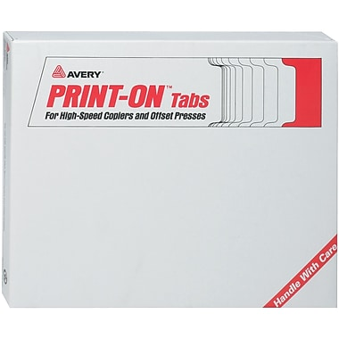 Avery(R) PRINT-ON(TM) Tabs for High-Speed Copiers and Offset Presses 20405, 5 Tabs, 150 Sheets