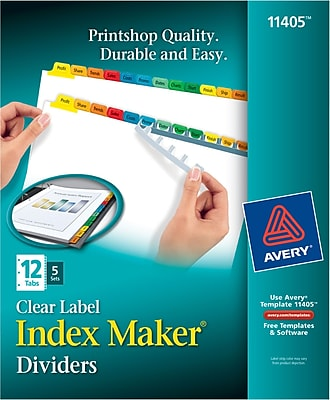 Avery® Index Maker Clear Label Tab Dividers, 12-Tab