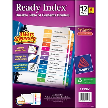 Avery® Ready Index® Table of Contents Dividers, 1-12 Tab, Multicolor, 8 1/2