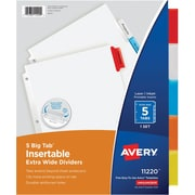 "Avery® Extra-Wide Big Tab™ Insertable Dividers with White Paper, 5 Tab, Multicolor, 9 1/4"" x 11 1/8"", 1/St"