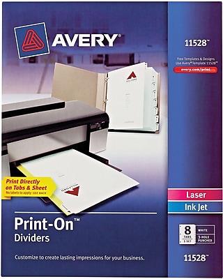 Avery® Print-On Presentation Dividers, 8 Tab, White Tab, 1 Set, Laser/ InkJet