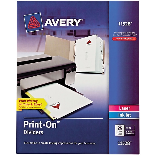 Avery PrintOn Presentation Dividers Tab White Tab Set - Avery print on tabs template