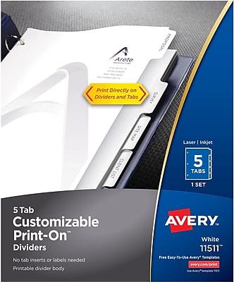 Avery Print-On Presentation Dividers 5 Tab White Tab 1 Set Laser/Inkjet (11511)