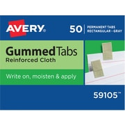Avery 7/16 x 1 13/16 inch Gummed Index Tabs, 50 Per Pack, Gray/Silver (59105) by